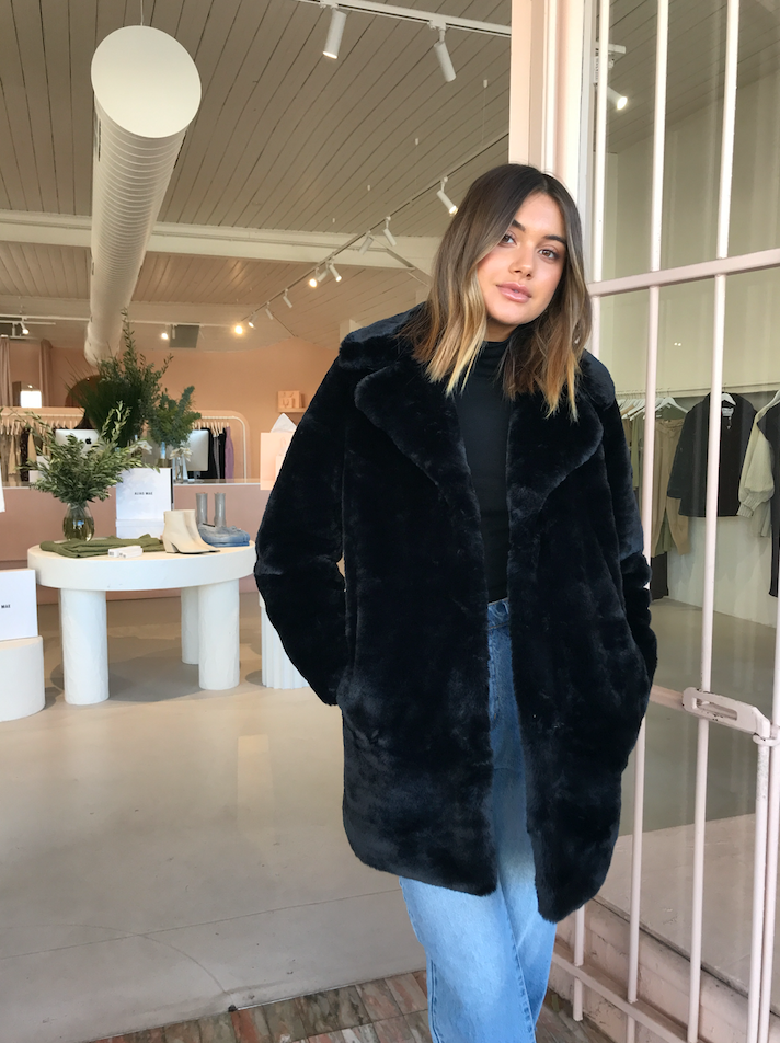 Ena Pelly Minimalist Faux Fur Jacket in Black