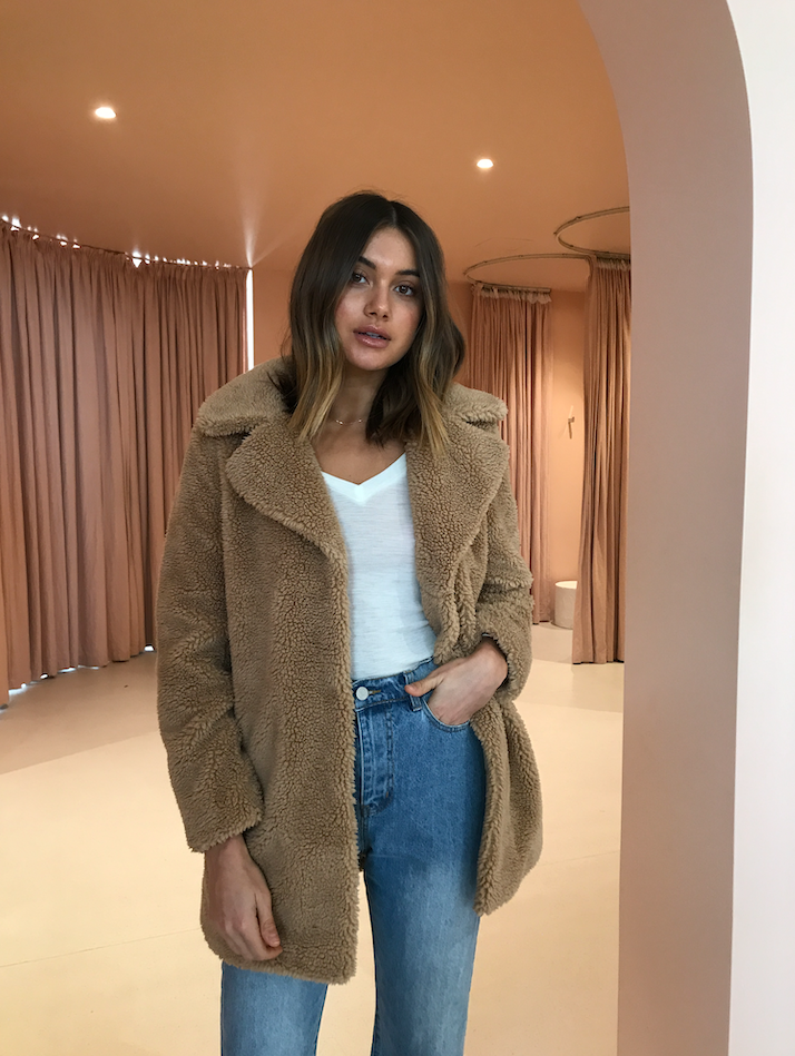 Ena Pelly Minimalist Faux Fur Jacket in Teddy