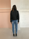 Ena Pelly Minimalist Biker Jacket in Black/Black/Pebbled