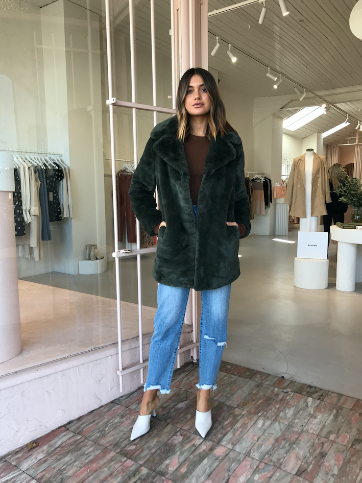 Ena Pelly Minimalist Faux Fur Jacket in Forest