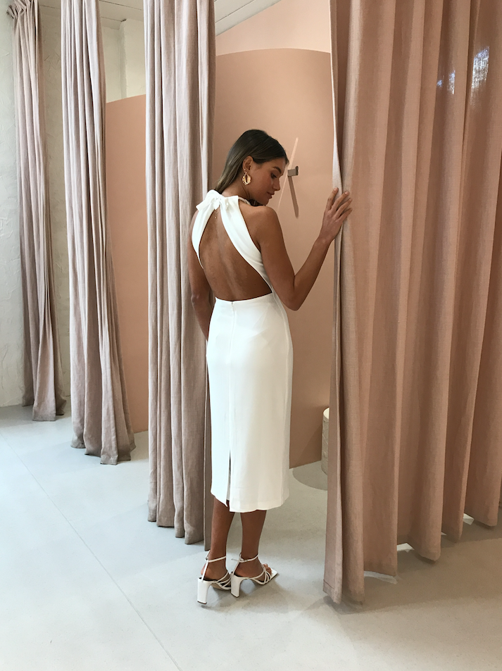 Third Form Tie Up Neck Midi Dress in Off White