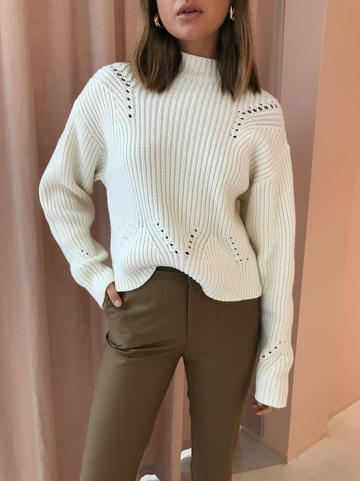 SIR Franca Pointelle Sweater in Ivory