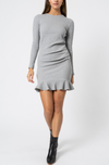 By Nicola Belle Frill Mini Dress in Grey Marle