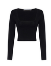 By Johnny Clare Crop Sleeve Top in Black
