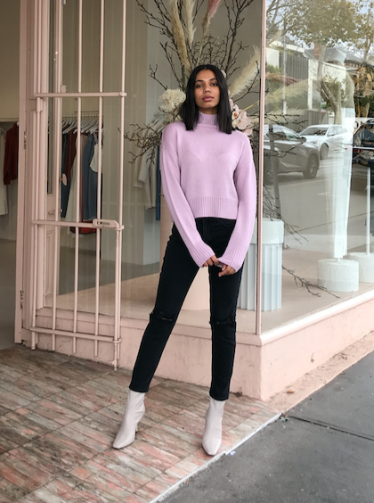 Third Form Lift Up Knit Turtle Neck in Lavender