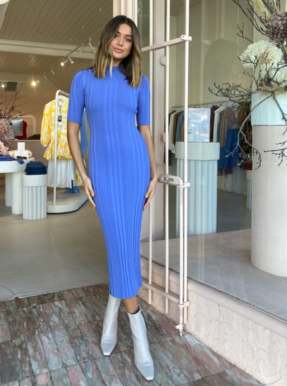 Bec & Bridge Esme Knit Midi Dress in Cornflower