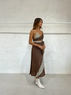 Suboo Tyra Pleat Panelled Midi Skirt in Copper