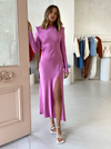 Bec & Bridge Lucie L/S Midi Dress in Fuchsia