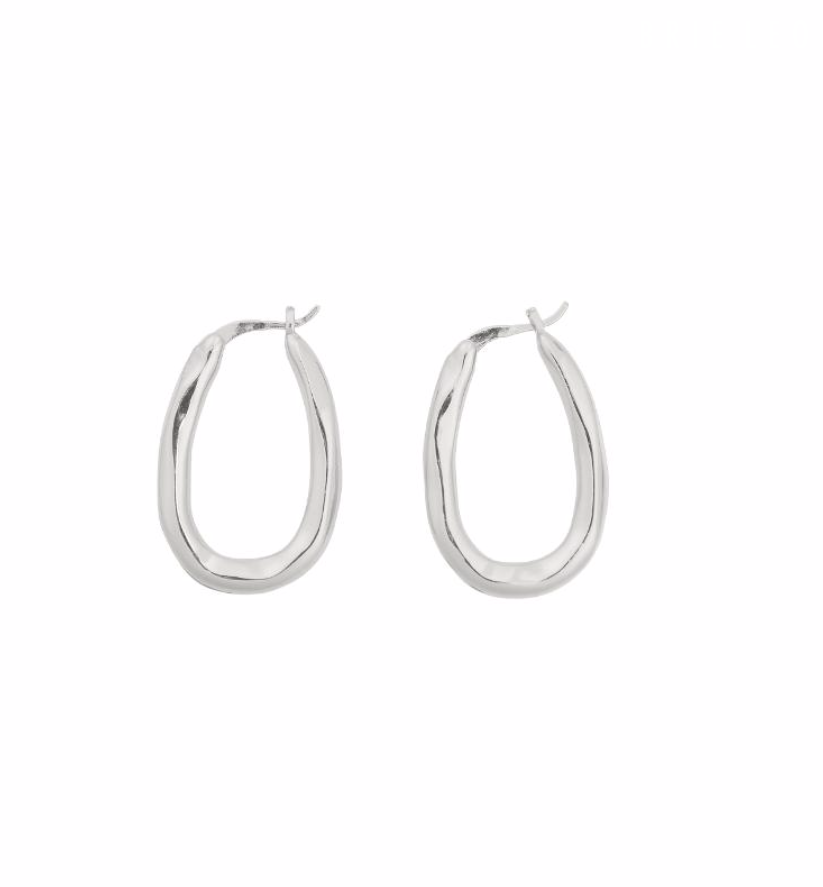 Brie Leon Organica Bent Hoops in Silver