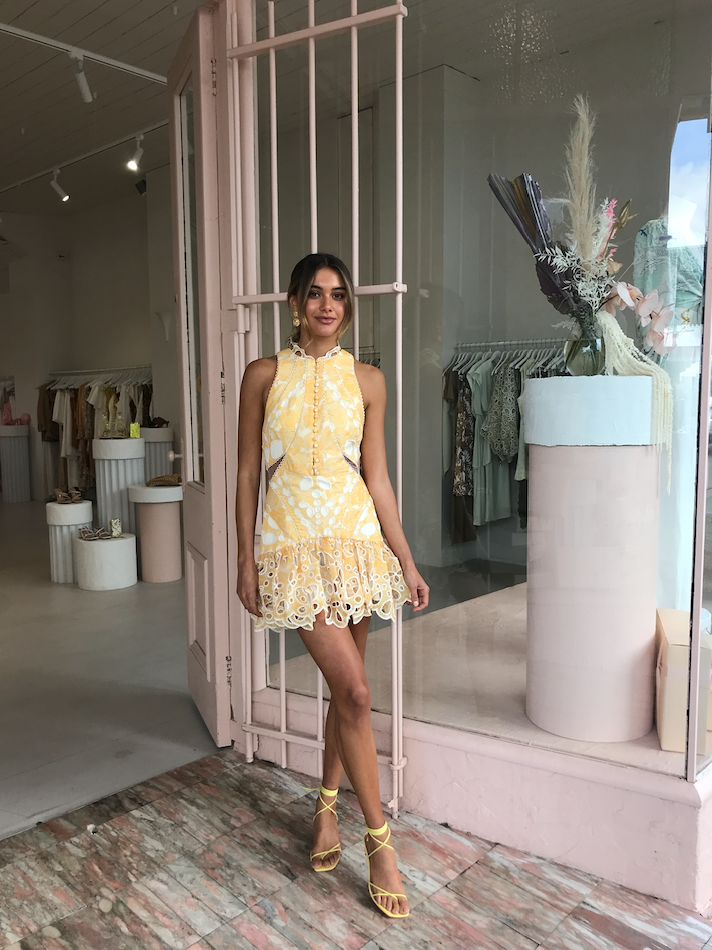 Acler Meredith Dress in Lemon Floral