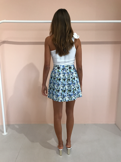 By Johnny Floral Pleated Mini Skirt in Sky Floral