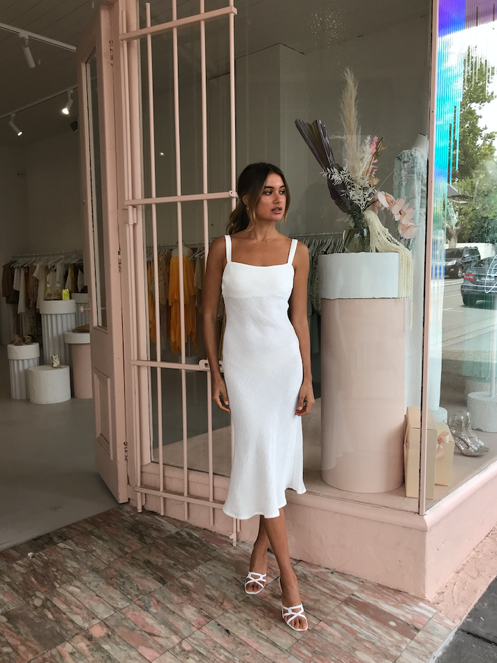 By Johnny Crinkle Bias Slip Midi Dress in White