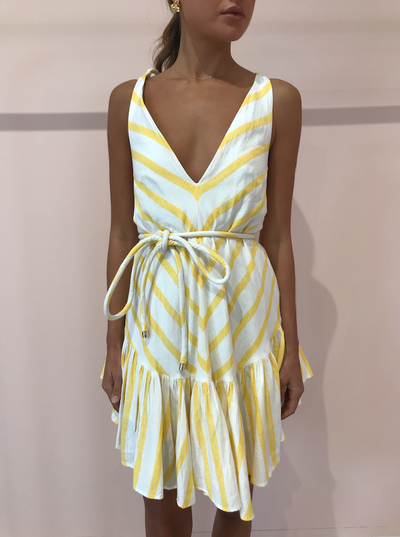 Significant Other Illusion Dress in Pineapple Stripe