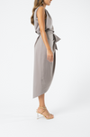 Olive and Ivy One Shouldered Drape Dress in Smokey Eyes
