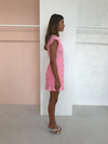 By Nicola Everbloom Short Sleeve Mini Dress in Pink Sherbet