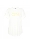 C&M Huntington Tee in White with Yellow