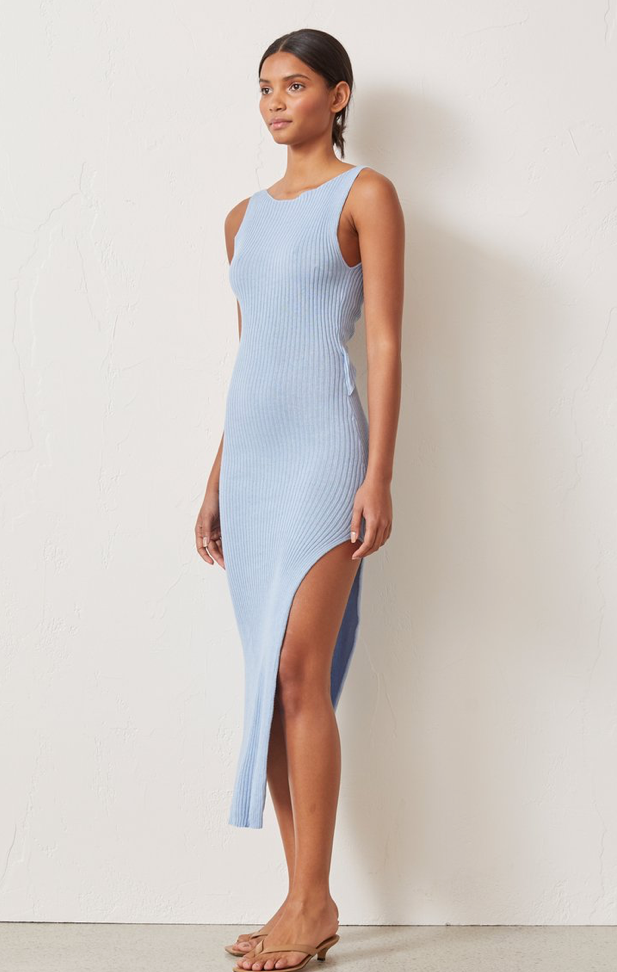 Bec & Bridge Riviera Knit Midi Dress in Sky Blue
