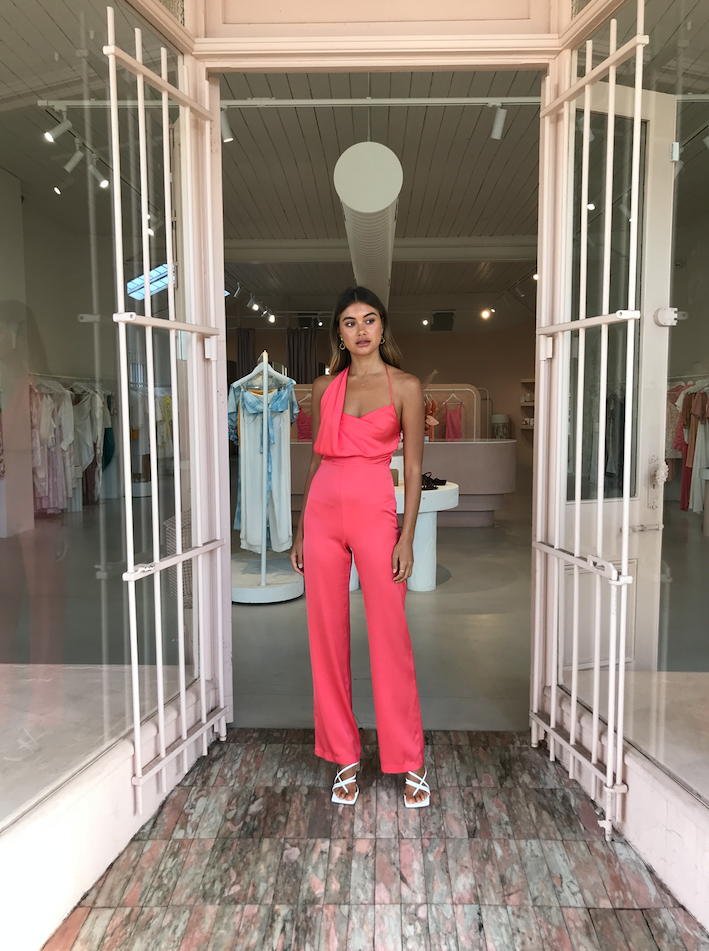 One Fell Swoop Muse Jumpsuit in Coral Silk