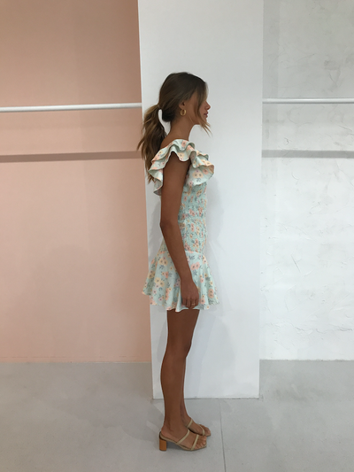 By Nicola Verde Mini Dress in Pistachio Daisy