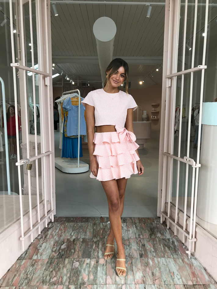 By Nicola Golden Hour Mini Skirt in Coral Check