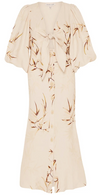Shona Joy Sundance Tie Front Bias Midi Dress in Natural/Tan