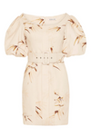 Shona Joy Sundance OTS Fitted Mini Dress in Natural/Tan