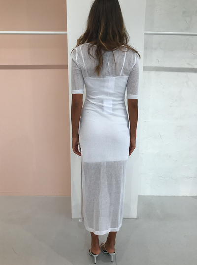 Third Form Venetian Scooped Maxi Dress in White