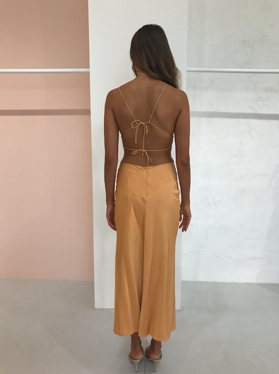 Third Form Back Out Bias Midi Dress in Honey