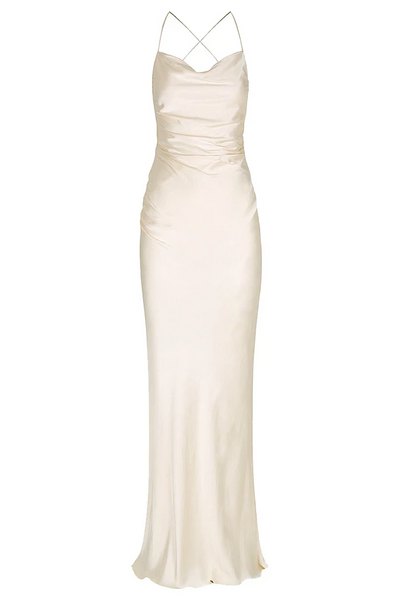 Shona Joy La Lune Ruched Backless Slip Dress in Cream