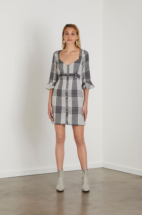 Steele Nadine Detail Dress in Stone Check