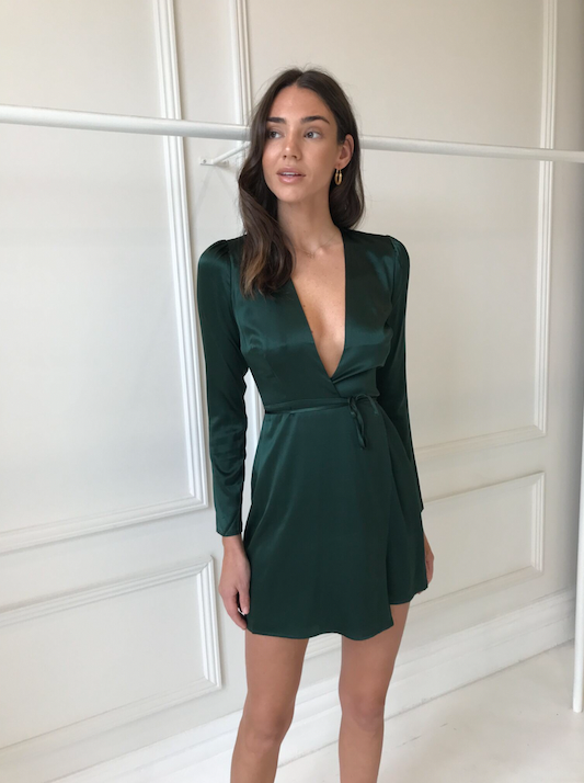 Hansen & Gretel Katie Silk Dress in Pine Green