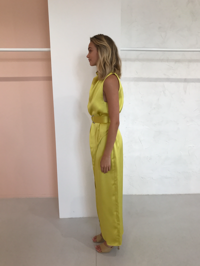Camilla and Marc Phoebe Drape Dress in Acid Yellow