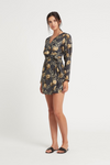 SIR Lita Wrap Mini Dress in Charcoal Lita Print