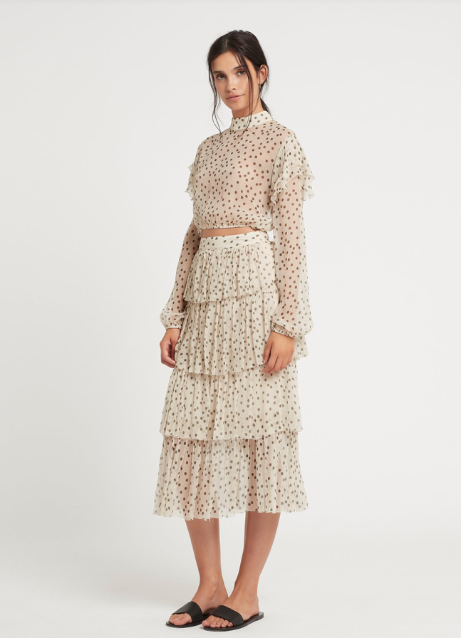 SIR Isabella Tiered Skirt in Bone Polka Dot