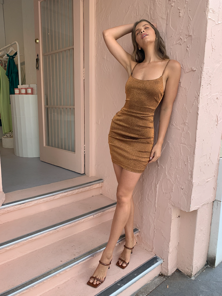 Bec & Bridge Bronze Baby Mini Dress in Copper