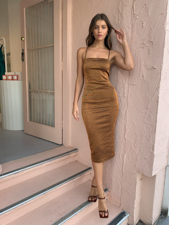 Bec & Bridge Bronze Baby Midi Dress in Copper