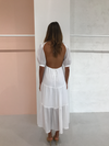 SIR Indre Open Back Midi Dress in White