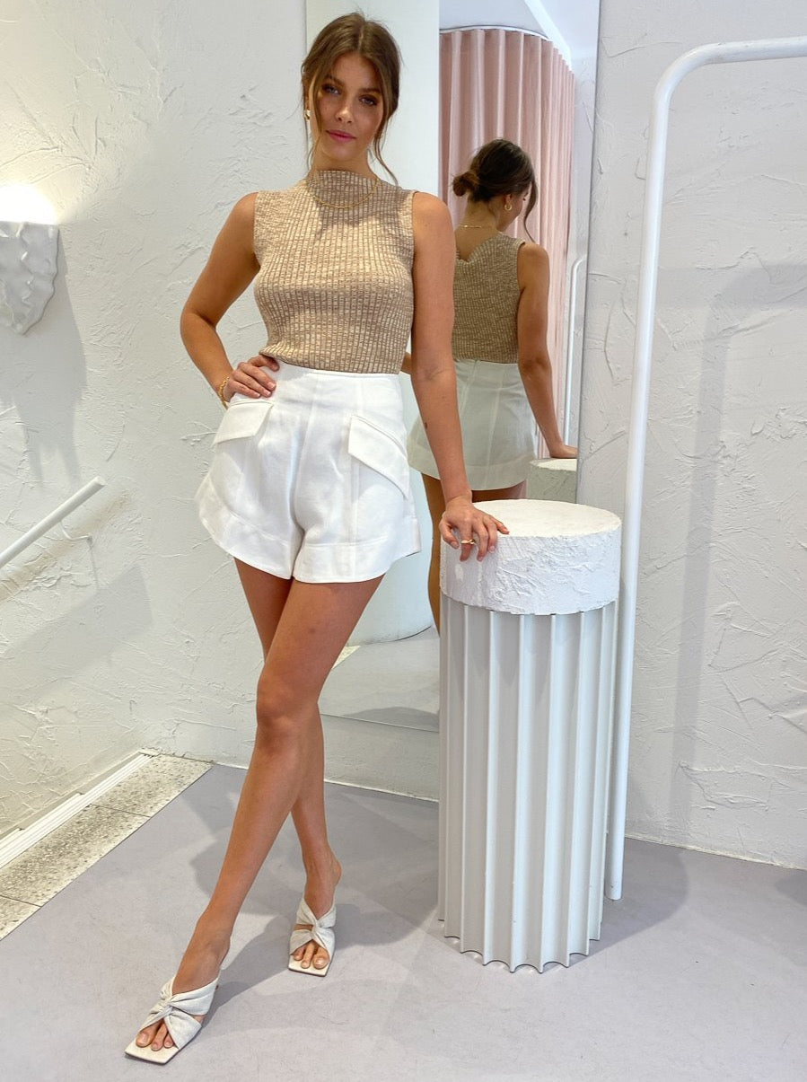 Shona Joy Bonita Flared Shorts in Ivory