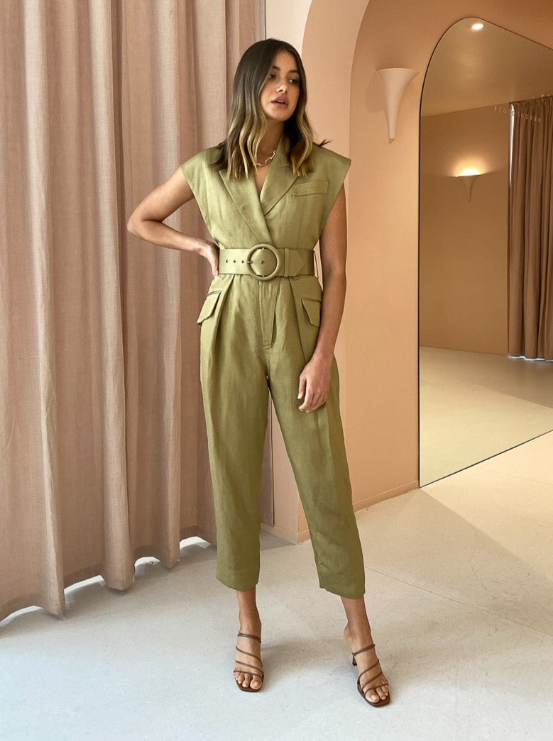 Shona Joy Bonita Fitted Jumpsuit in Olive