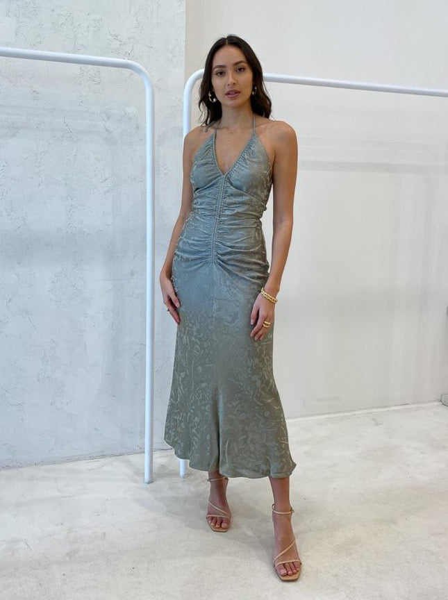 Shona Joy Mia Halter Ruched Midi Dress in Sage