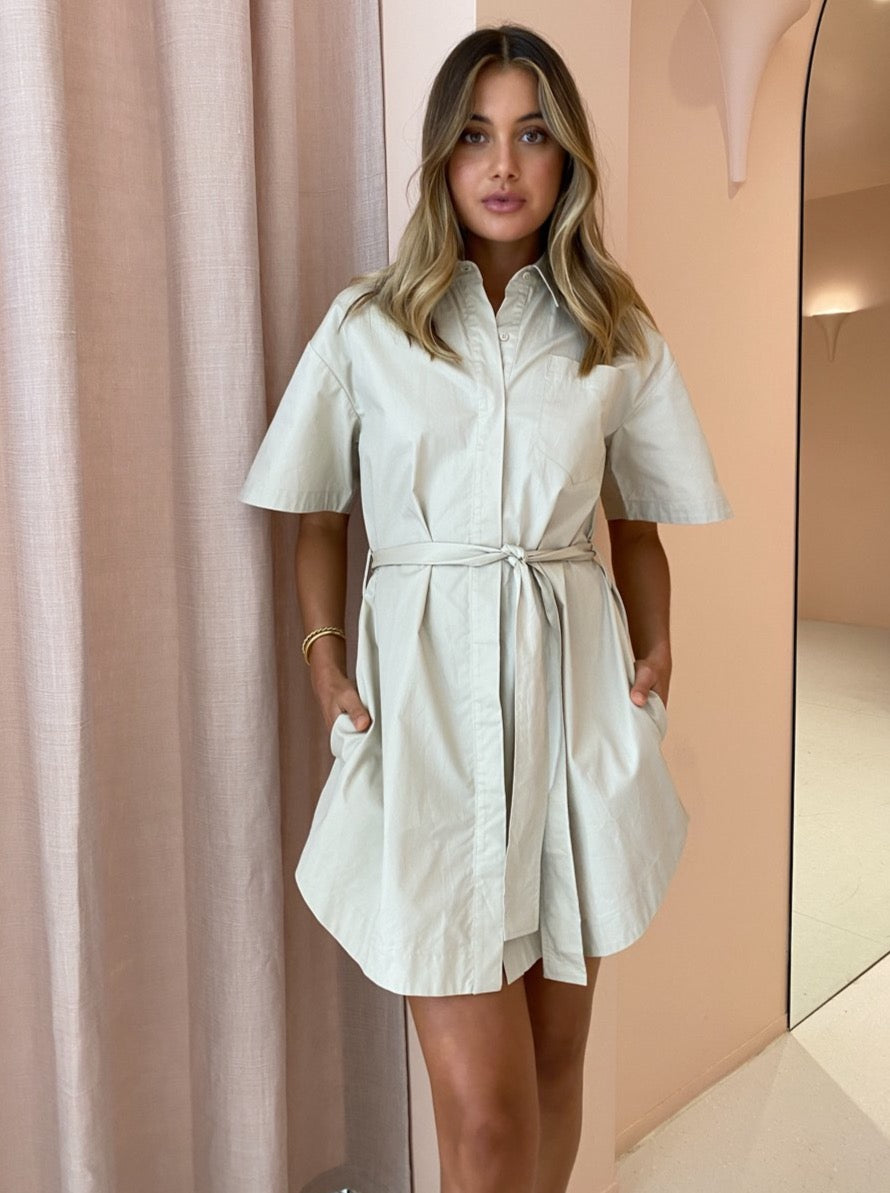 Shona Joy Amelie Shirt Dress in Sand