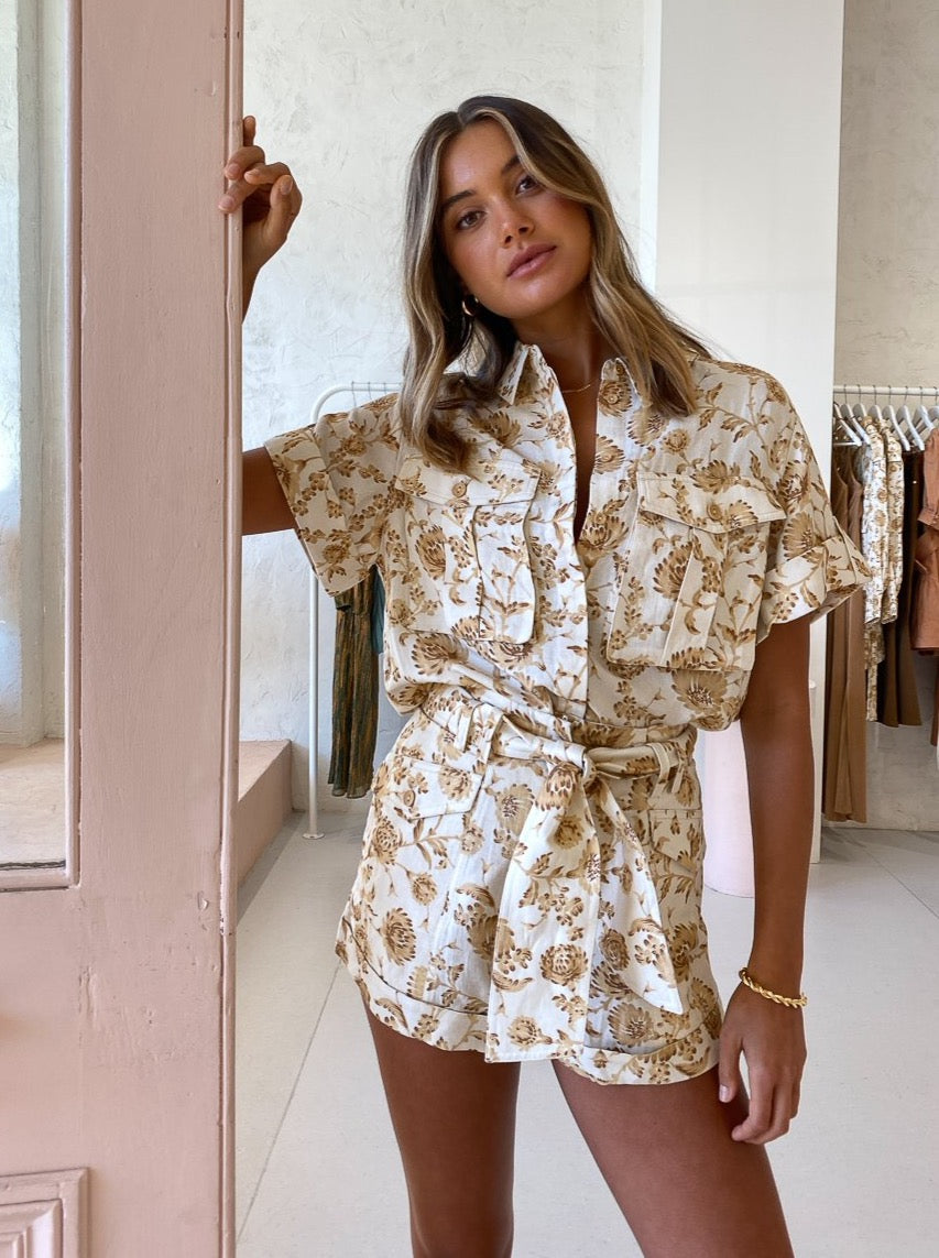 Significant Other Aphrodite Shirt in Caramel Floral