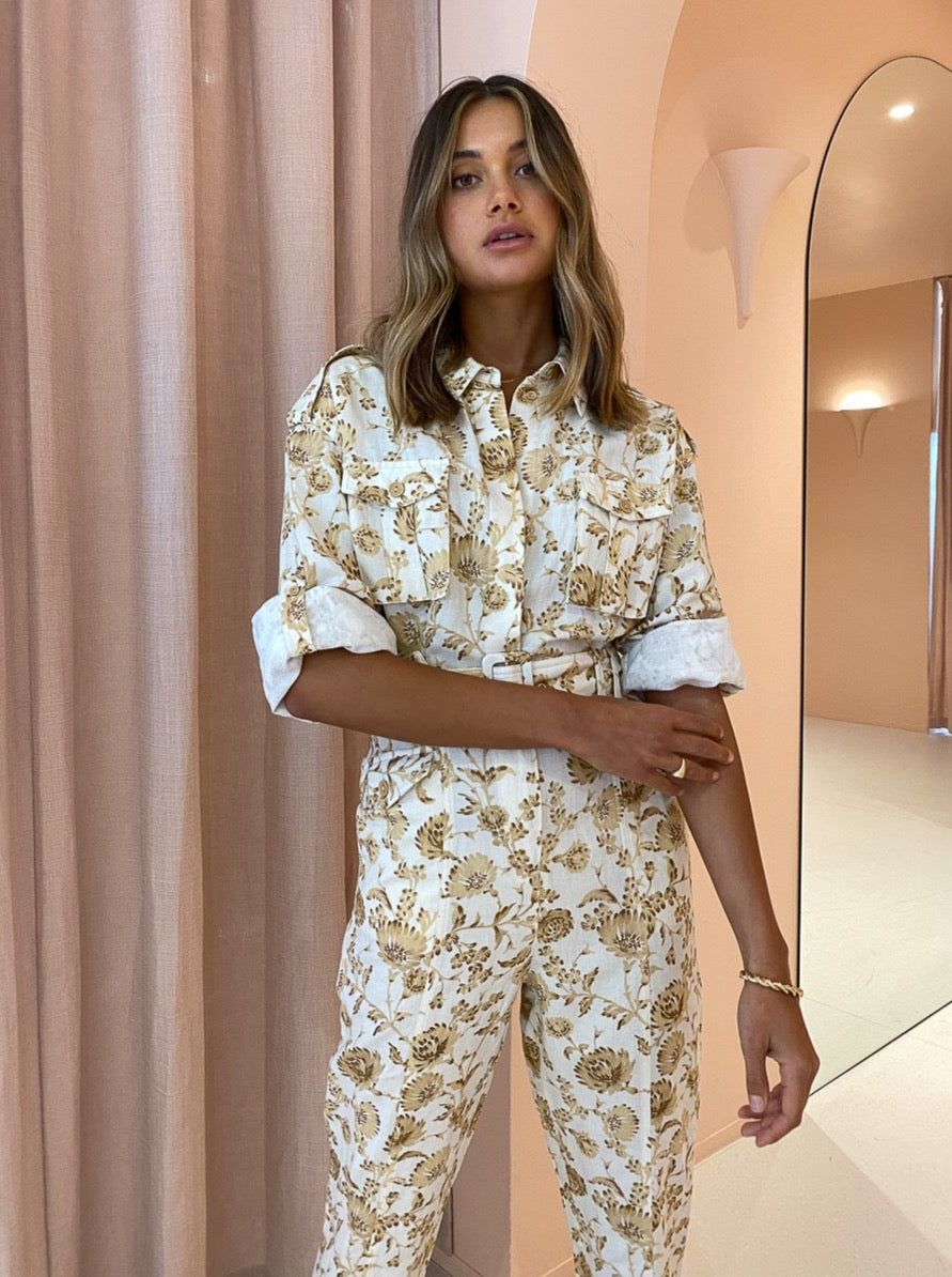 Significant Other Aphrodite Pantsuit in Caramel Floral
