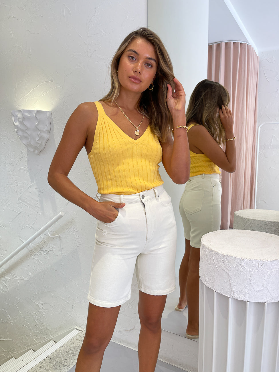 Significant Other Ariana Knit Cami Top in Marigold