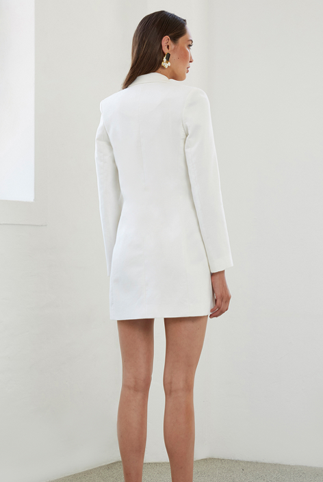 By Johnny Sofia Structured Blazer Dress in White Snow