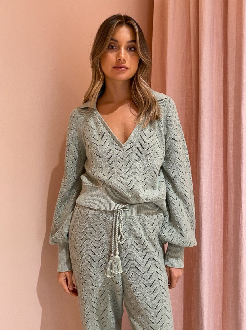 Steele Quincy Sweater in Sage Pointelle