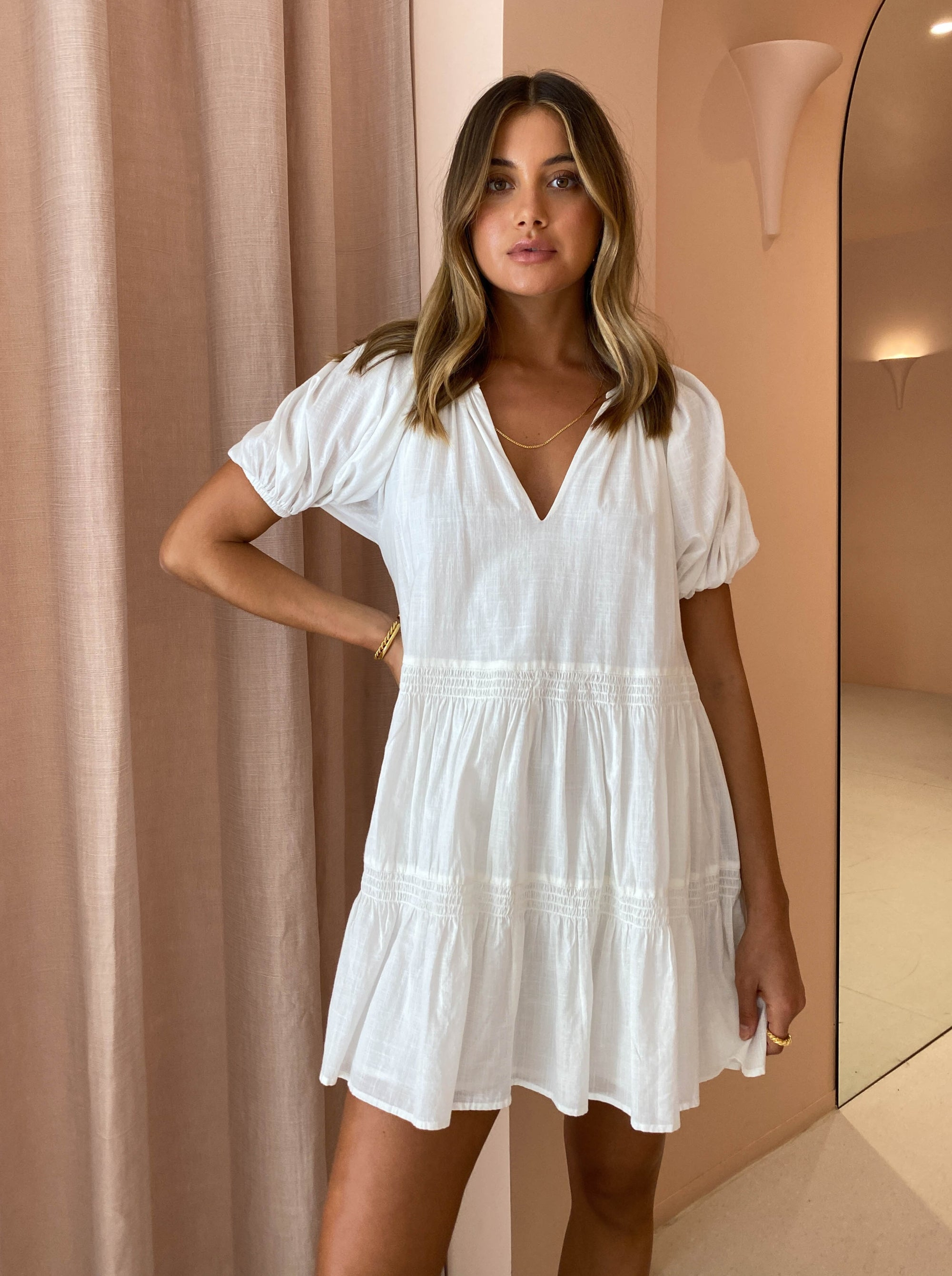 Steele Dazie Dress in Blanc
