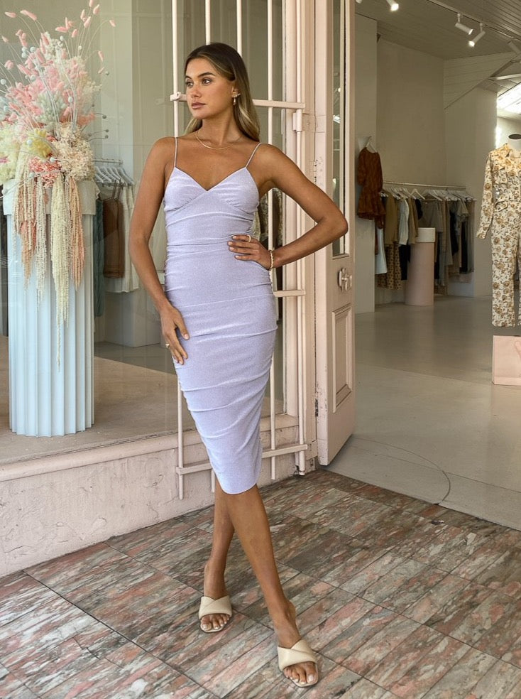Third Form Shimmer Triangle Midi Dress in Lilac