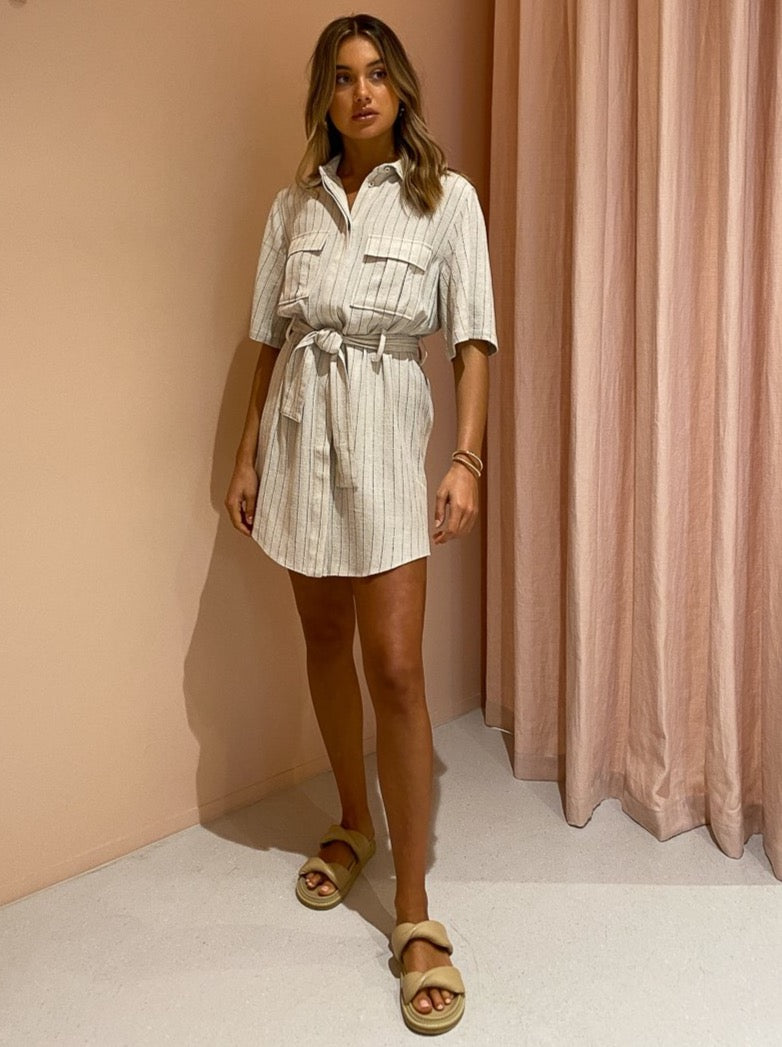 Third Form Picnic Stripe Shirt Dress in Straw Stripe