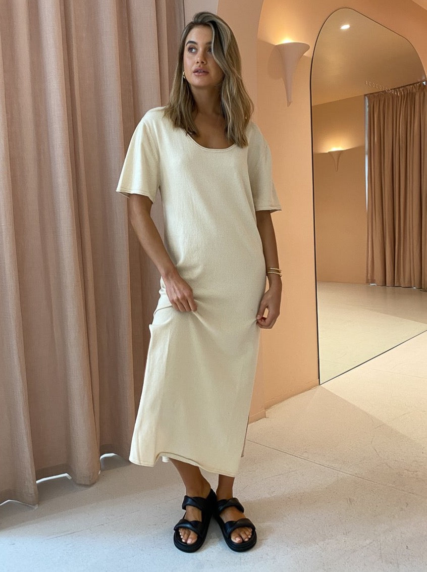 Third Form Roll Up Knit Maxi Tee Dress in Natural
